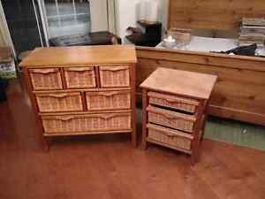 Wicker Bureau and chair