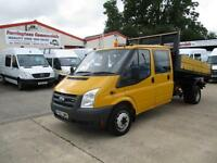 FORD TRANSIT LWB 2.4, T350, 115 bhp CREW / DOUBLE CAB ALLOY TIPPER 51,000 MILES