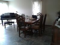 dining room table 6 chairs and side board