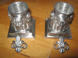 """Set of 2 """"Ocean Art"""" Pewter Candle Holders, like new,never used"""