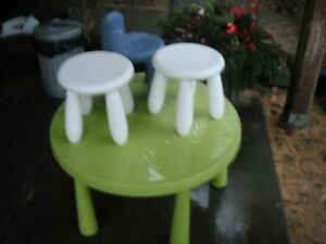 IKEA Kids table, 2 chairs and a stool