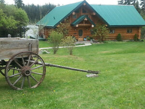 Timber King Log Home with Log Gazebo, Pond, BBQ Area & Shop!