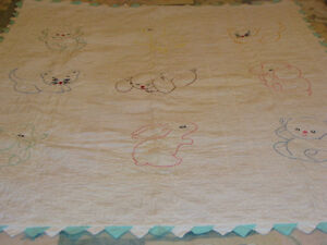 Hand-embroidered and Quilted BABY CHILD'S CRIB QUILT BLANKET
