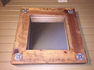 Solid wood and ceramic tile rustic mirror