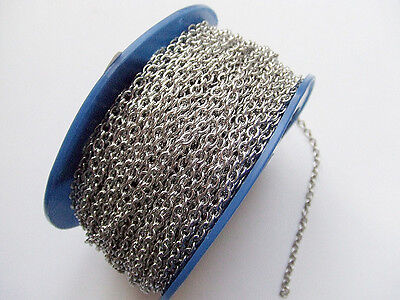 1mt di CATENA in acciaio inox 5x4mm  colore argento scuro bijoux