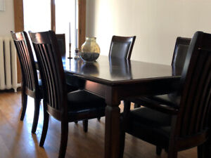 Dark Cherry Wood Dining Room Set - Table, Chairs, Sideboard
