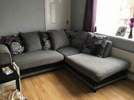 Black, grey and purple corner suite