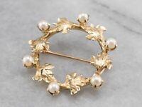 Gold Pearl Brooch