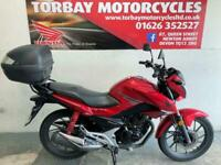 HONDA CB125F 2018 67 REG JUST 10150 MILES IN RED WITH TOP BOX