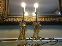 Chalet glass lamps very RARE (pair) $650