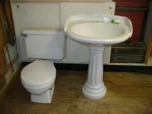 bathroom toilet & pedestal sink