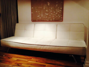 Venice White Split Back Convertible Sofa w/ Stainless Steel Legs