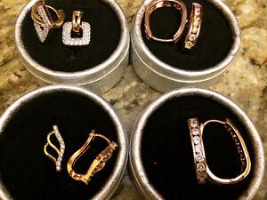 Lot de Boucles d'oreilles anneaux plaquée or 18 kt- partie 2