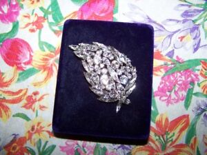 Designer Signed Sherman Clear Rhinestone Dimensional Leaf Brooch
