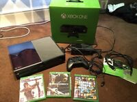 Xbox one in box with accessories + games