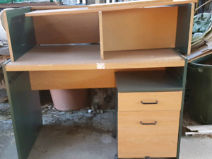 Desk with hutch and file drawer