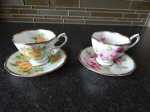 Royal Albert Assorted tea cups and matching saucers