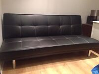 Black leather sofa bed - SOLD