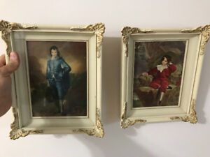 Blue boy and red boy prints in Georgian style frame