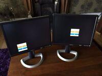 """2 x Dell UltraSharp 2001FP 20.1"""" LCD Monitors"""