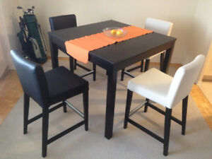 IKEA Bar table, brown-black with set of leather bar stools
