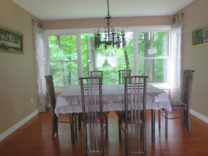 Glass dining table set - 6 chairs
