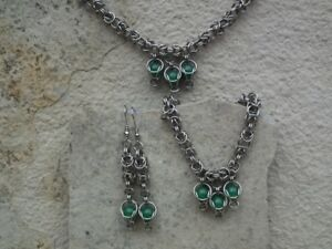 Stainless Steel Set with Captured Aventurine