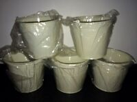 5 Ivory Pails - Ideal for Wedding Centrepieces - Brand New