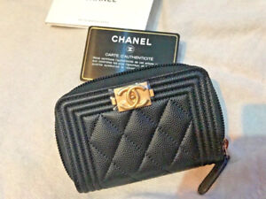 *SOLD OUT* CHANEL 2018 Black Caviar Boy Wallet GOLD GHW Zip Coin