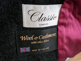 Wool and cashmere overcoat made in England