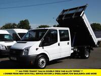 2011 FORD TRANSIT 350/115 DOUBLE CREW CAB ALLOY TIPPER *** 1 OWNER,6 SPEED,115PS