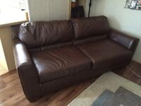 Leather Hide A Bed Couch and Recliner
