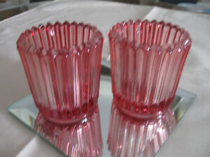 2 GORGEOUS OLD VINTAGE CRANBERRY GLASS INDIVIDUAL NUT DISHES