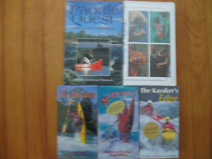 Five items book and tapes about canoes ans kayaks