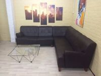 Sectional Brown Leather Corner Sofa