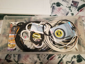 Large lot of Coaxial cables, splitters etc, lots new