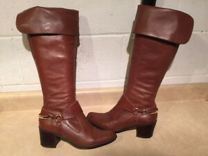 Women's Brown Leather Heels/Boots Size 8