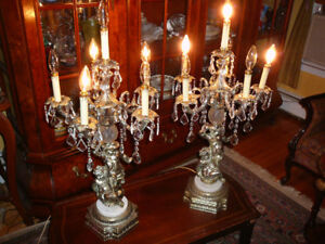 Paire lampes vtg/1950 style Rococo, bronze, cristal, marbre AAA