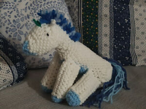 Blue and White Crocheted Unicorn!