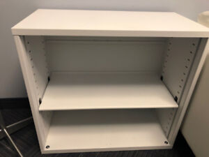 White steel 2-shelf bookcase