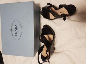 Prada size 6 black sandal wedges!