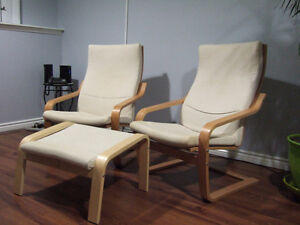 IKEA Poang Chairs with one footstool
