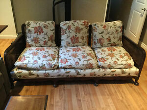 Rattan couch, beautifully restored