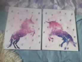 Unicorn canvas x 2