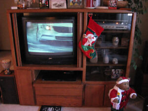 Beautiful Oak Entertainment Center (with 2 FREE 27 inch TV's)