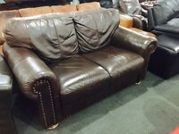 As new full brown leather 2 seater sofa