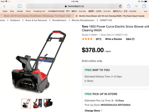 Toro 1800 Power Curve Electric Snow Blower with 18-inch Clearing