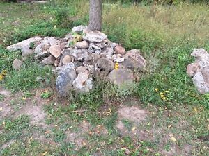 Pile of stone from old foundation