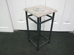 MARBLE + WROUGHT IRON PLANT STAND