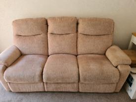 3 seater manual recliner sofa in beige